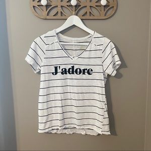 "Grayson Threads ""J'adore"" Striped T-Shirt White Md"